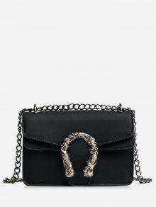 معدن مزين سلسلة رفرف حقيبة كروسبودي - أسود