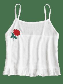Patched Crop Top Ruffles Blanco M Cami Floral PgZwvdqxv