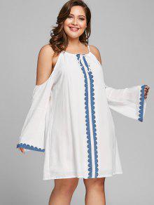 فستان مستقيم الحجم الكبير باردة الكتف - أبيض 3xl