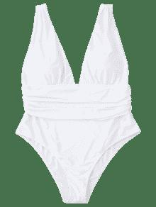 735333513e0be 55% OFF  2019 Plus Size Plunge Swimsuit In WHITE 2XL