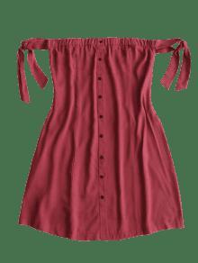 Vestido Botones L Atado Con Mini Vino Rojo Bw4U6