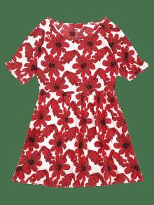 De Mini Xl Rojo De Vestido Floral Redondo Estampado Cuello FSRFq