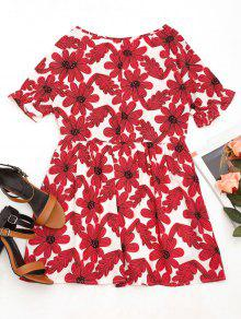 Redondo De Vestido Xl Cuello Estampado Mini De Floral Rojo w61nqxPAY