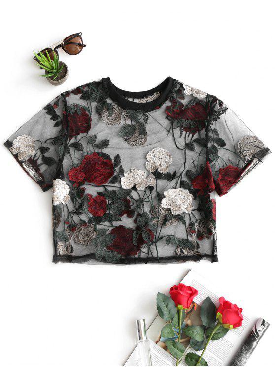 Blouse en Voile Courte Florale Transparente - Rouge Foncé XL