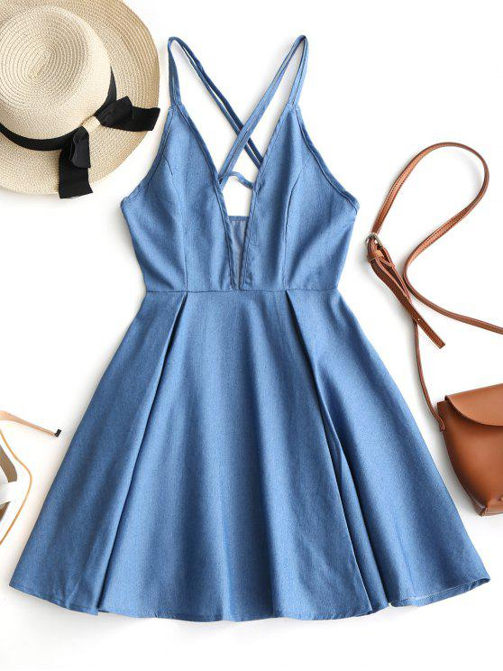 women's Cut Out Criss Cross Chambray Strappy Dress - DENIM BLUE XL