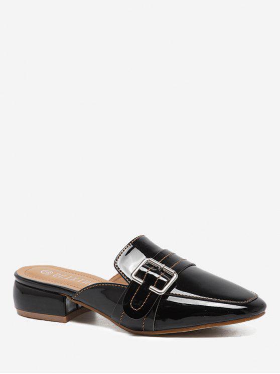 Schnallen Low Heel Mules Schuhe - Schwarz 36