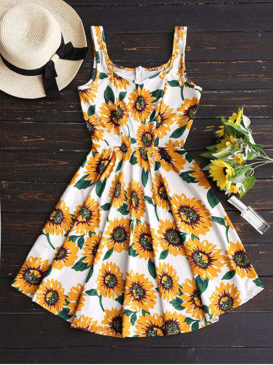 affordable Sunflower Print High Waist Flare Dress - FLORAL L
