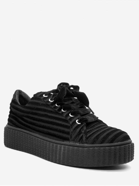 trendy Lace Up Faux Suede Sneakers - BLACK 37