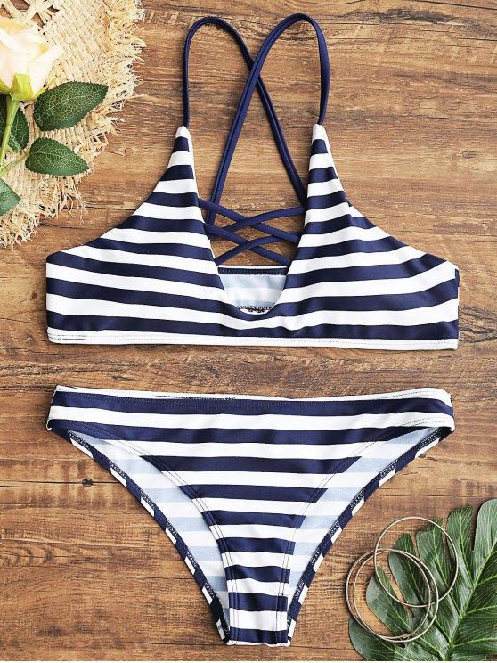 Ensemble Bikini Rayé Croisé - Bleu et Blanc S