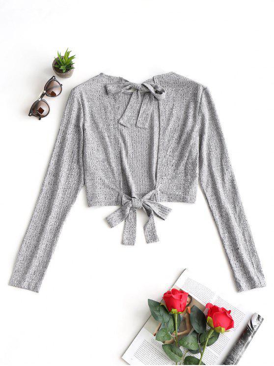 latest Open Back Tied Bowknot Crop Knitwear - GRAY XL