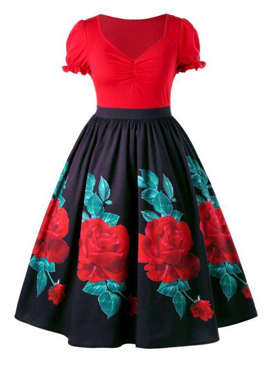 Übergroße Blumen Swing Vintage Kleid Rot   Schwarz  Kleider 5XL   ZAFUL 6efe3b7b63
