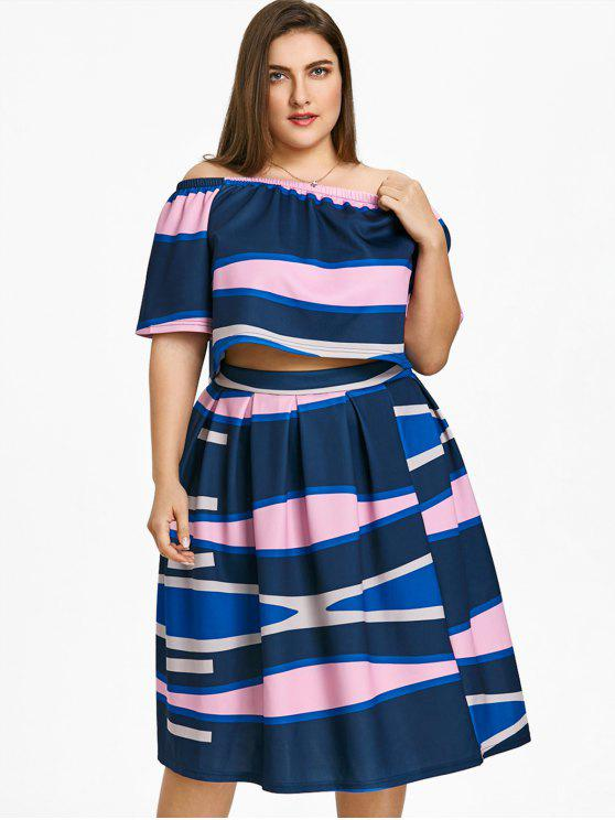 trendy Plus Size Color  Block Top with A Line Skirt - MULTICOLOR 2XL