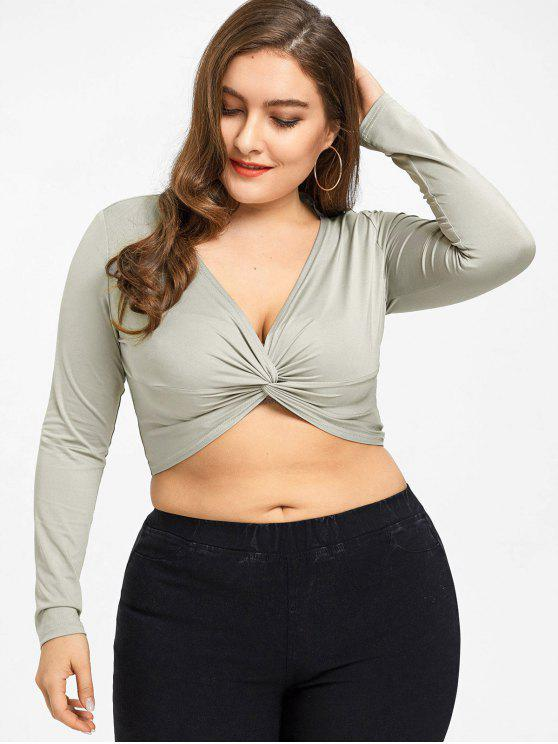Twist Plus Size Crop Top - Heller Kaffee 4XL