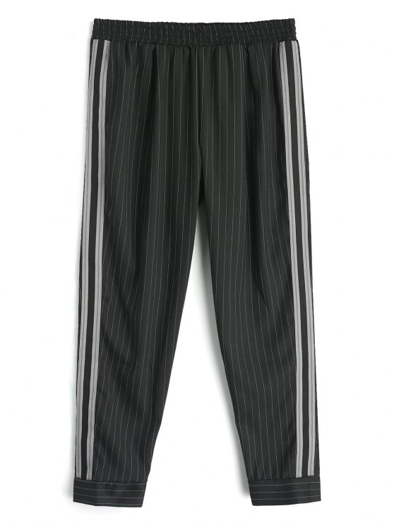 outfit Ribbon Stripes Harem Pants - BLACK L