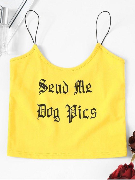 Camiseta sin mangas con logo de letra recortada - Amarillo S