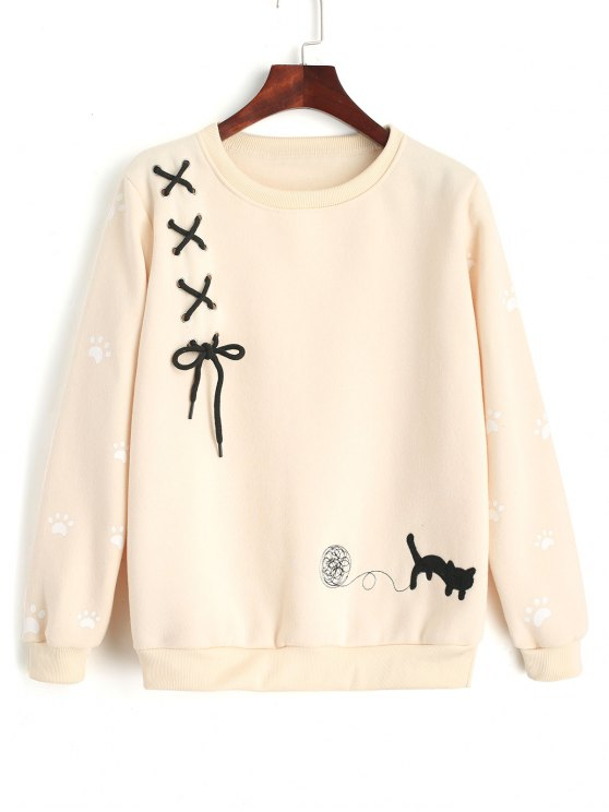 online Criss Cross Ribbon Footprint Sweatshirt - LIGHT APRICOT ONE SIZE
