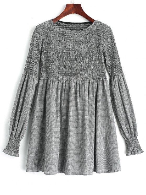فستان تونيك منقوش سموكيد طويلة الأكمام - التحقق S