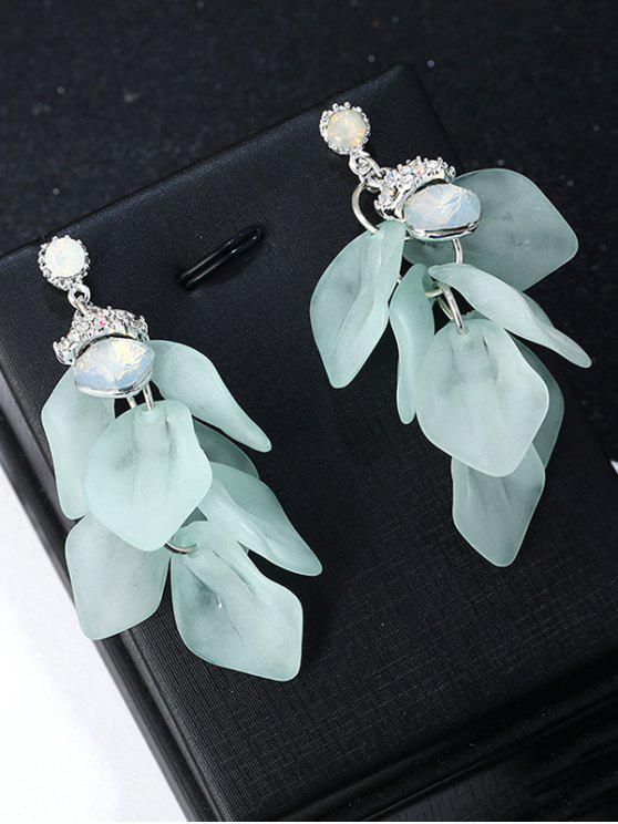 Brincos de gota de gema Faux com forma única de coração - GREEN