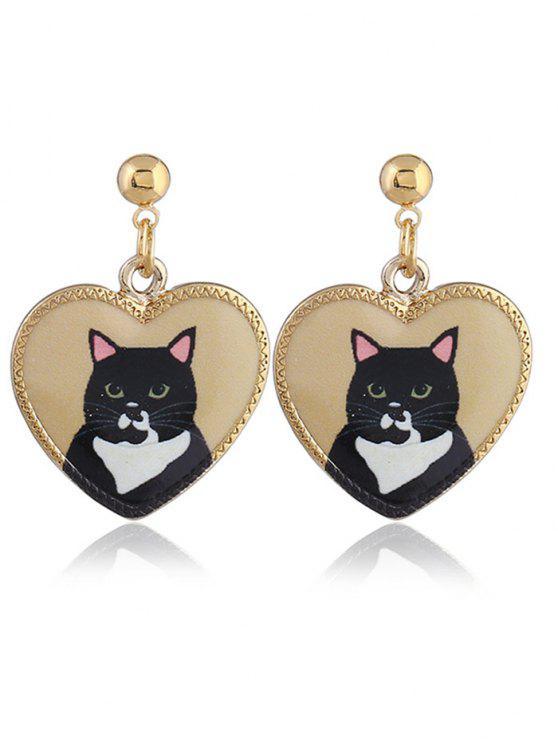 Retro Heart Shape Animals Padrão Stud Drop Earrings - Terroso