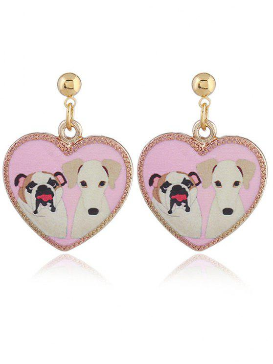 Retro Heart Shape Animals Padrão Stud Drop Earrings - Rosa