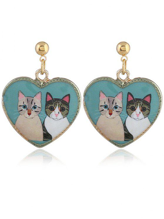 Retro Heart Shape Animals Padrão Stud Drop Earrings - Azul Lago
