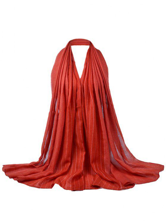 Patrón de rayas suaves adornado bufanda sedosa - Rojo