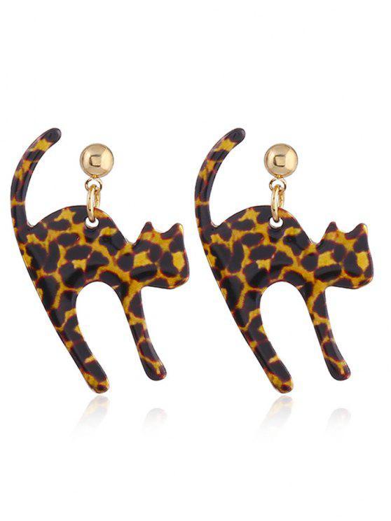 Pendientes pequeños de cola larga con cola de gato - Leopardo marrón