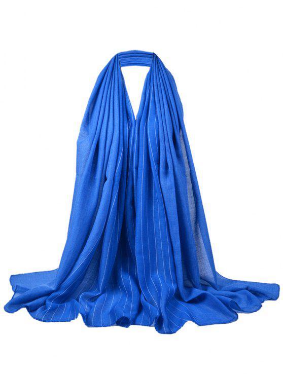 Patrón de rayas suaves adornado bufanda sedosa - Azul Zafiro