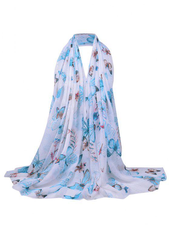 Écharpe Transparente Décorée de Paillettes et Motif Floral - Azur