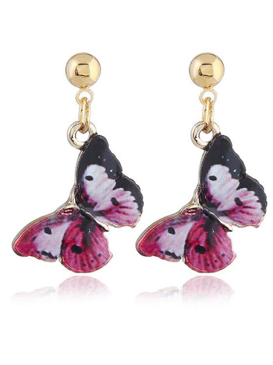 Fairy Tale Butterfly Drop Earrings - Vermelho