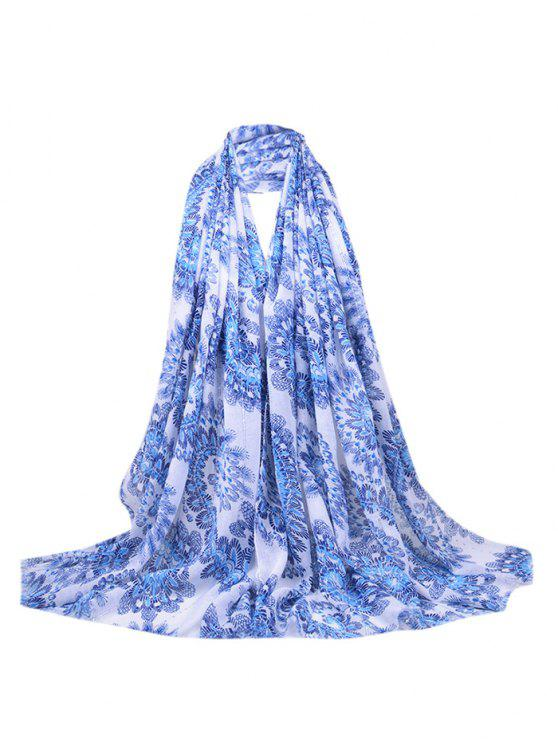 Flourishing Floral Sequins Decorado Fringed Long Scarf - Azul