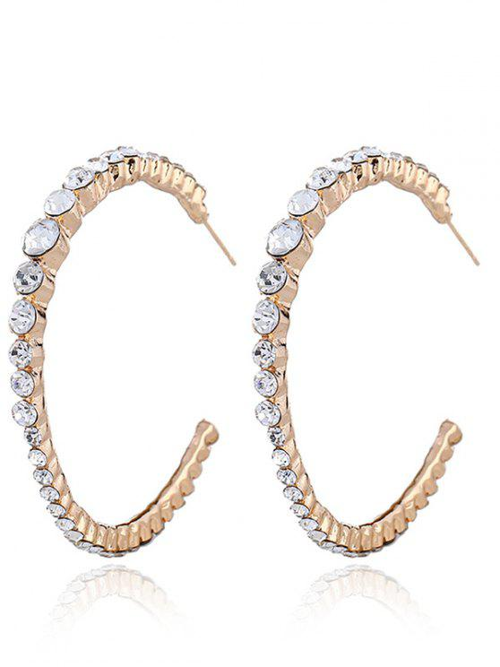 Ringrings Rhinestone Inlay Hoop Earrings - Dourado