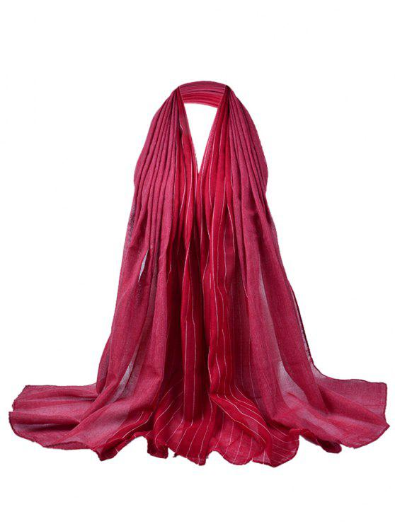 ladies Soft Stripe Pattern Embellished Silky Scarf - DEEP RED