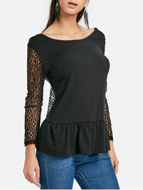 letzte Veröffentlichung Größe 7 beste Qualität Ausgeschnittene Rückenfreie Spitze Trim Volant Bluse BLACK