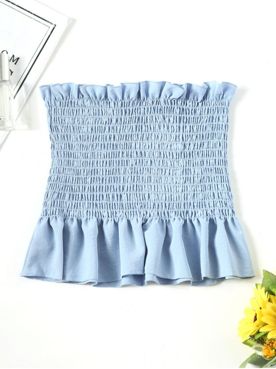 11128df822d9 26% OFF  2019 Ruffle Smocked Tube Top In LIGHT BLUE