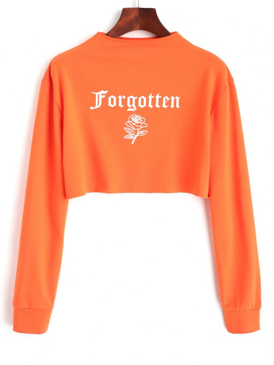 Sweat-shirt Court Imprimé Lettre et Rose - Orange Rose L