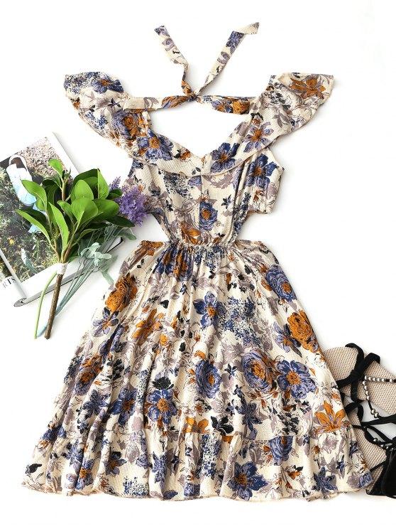 women Off Shoulder Cut Out Ruffle Mini Dress - FLORAL M