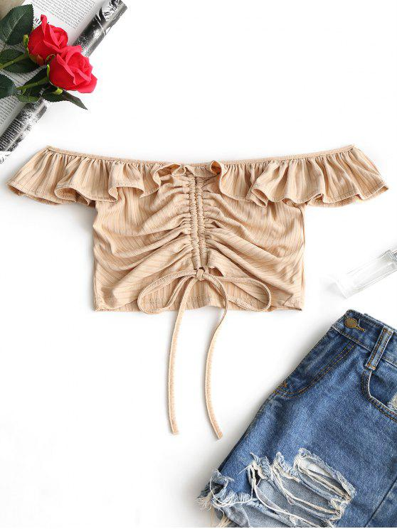 affordable Off Shoulder Ruffles Ruched Crop Tee - KHAKI S