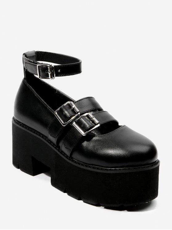Chaussures à plateforme à double boucle et bride à la cheville - Noir 39