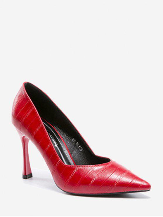 ladies Minimalist Office Stiletto Heel Pumps - RED 38