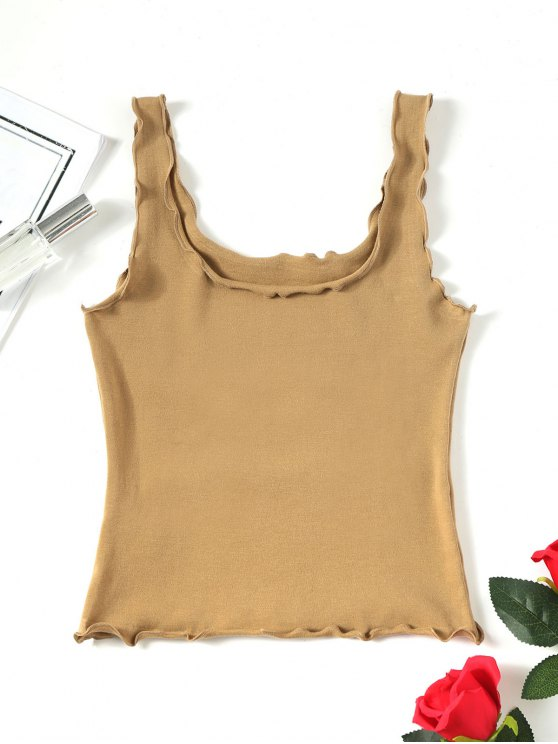 3a699675832a2b 32% OFF  2019 Cropped Lettuce Trim Tank Top In KHAKI