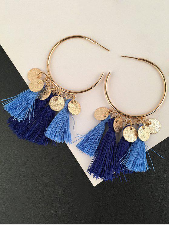 Boucles d'Oreilles Pendantes Motif Disques avec Pompons - Bleu