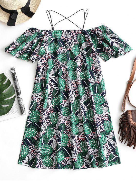 فستان كامي طباعة الأوراق باردة الكتف - أخضر M