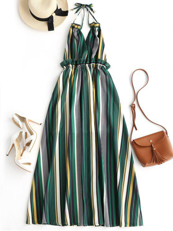 women Striped Ruffles Backless Halter Maxi Dress - STRIPE S