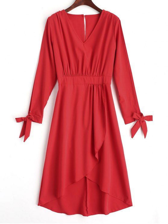 فستان ماكسي غير متماثل متدرج انقسام الأكمام - أحمر S