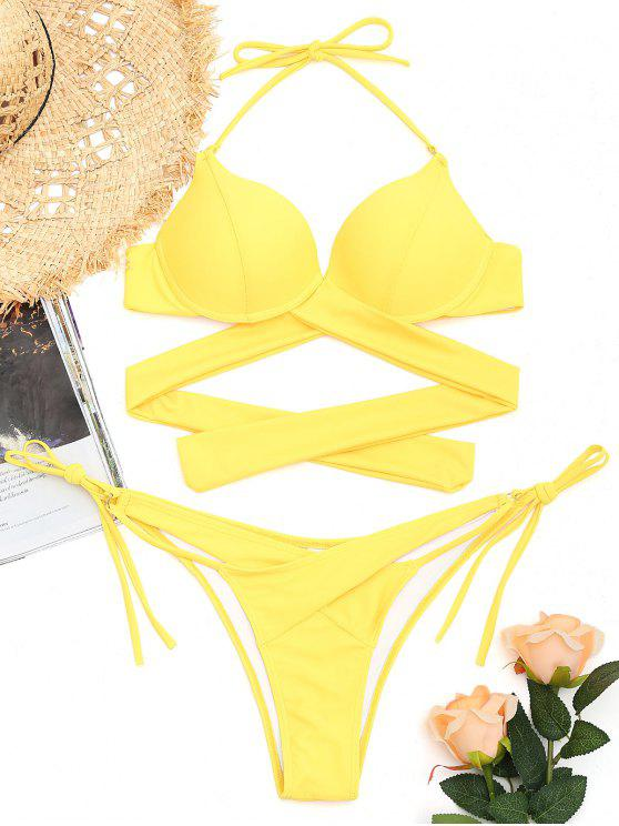 online Underwire String Wrap Bathing Suit - YELLOW S