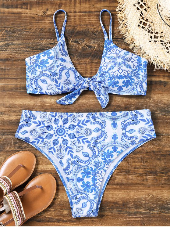 shop Knotted Porcelain High Cut Plus Size Bikini - BLUE AND WHITE 2XL