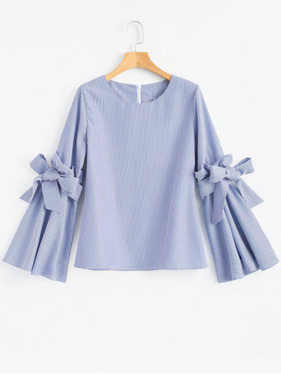 new Striped Ruffles Flare Sleeve Blouse - BLUE XL