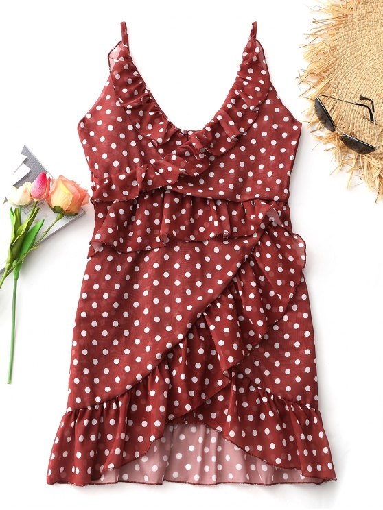 buy Cami Polka Dot Ruffle Mini Dress - BRICK-RED 2XL