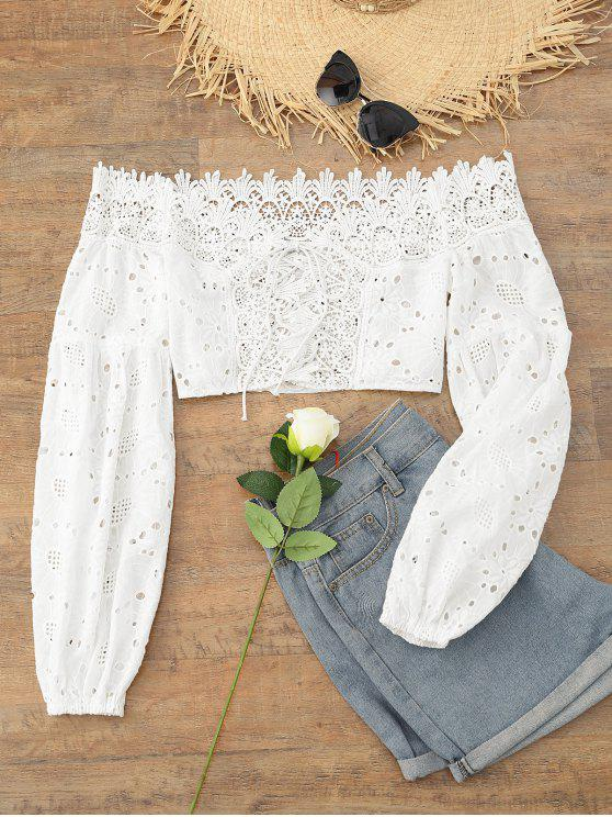 best Eyelet Off The Shoulder Crop Top - WHITE S